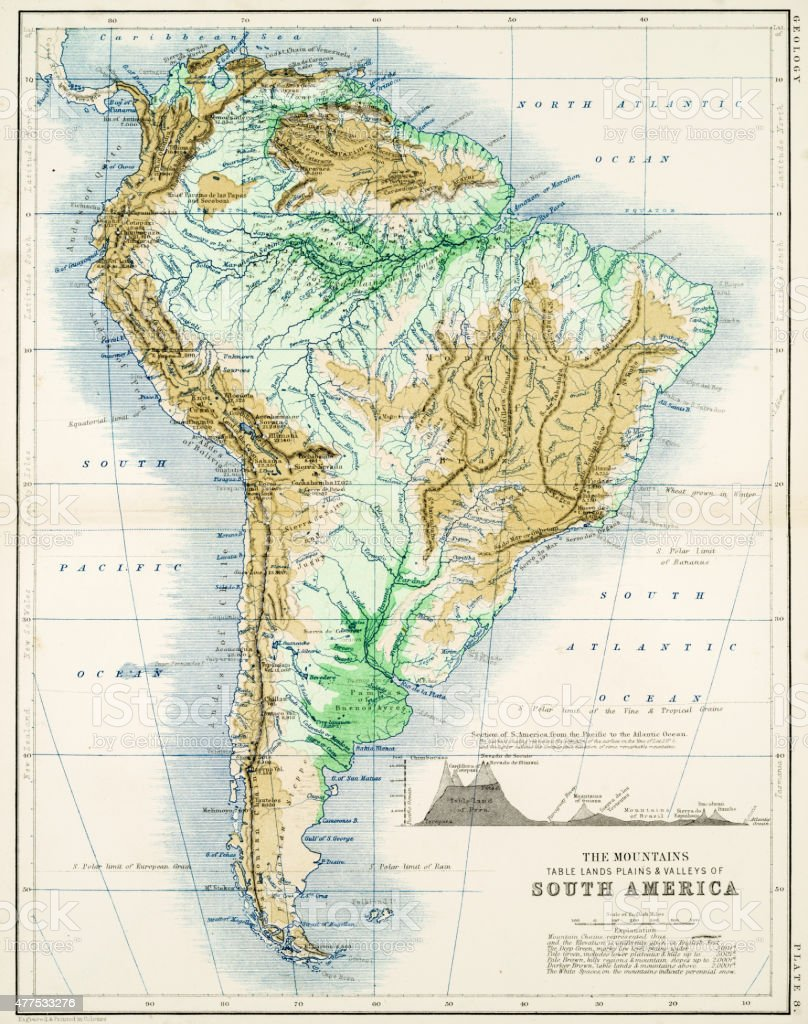 Map Of America In 1861.Map Of South America 1861 Stock Vector Art More Images Of 2015