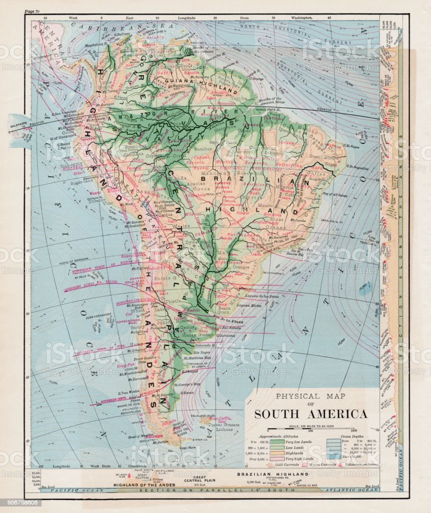 Map Of South America 1877 Stock Illustration - Download ... Map Of South America Highland on map of saint lucia highlands, peru highlands, map of guiana highlands, map of latin america and its landforms, map of argentina with lakes labeled, map of red sea highlands, map of scotland highlands,
