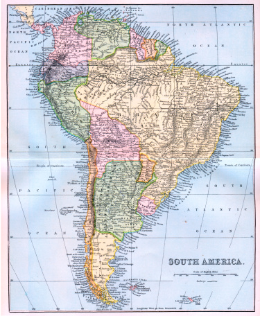 Map of South America 19th Century
