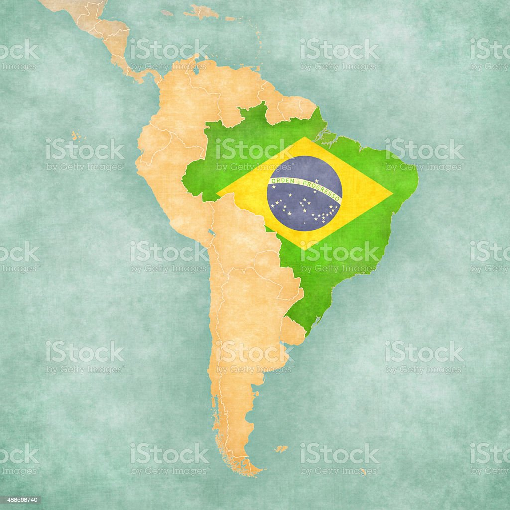 Map of South America Brazil Vintage South