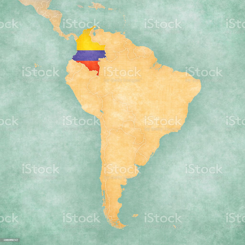 Map Of South America Colombia Stock Vector Art IStock - Colombia map south america
