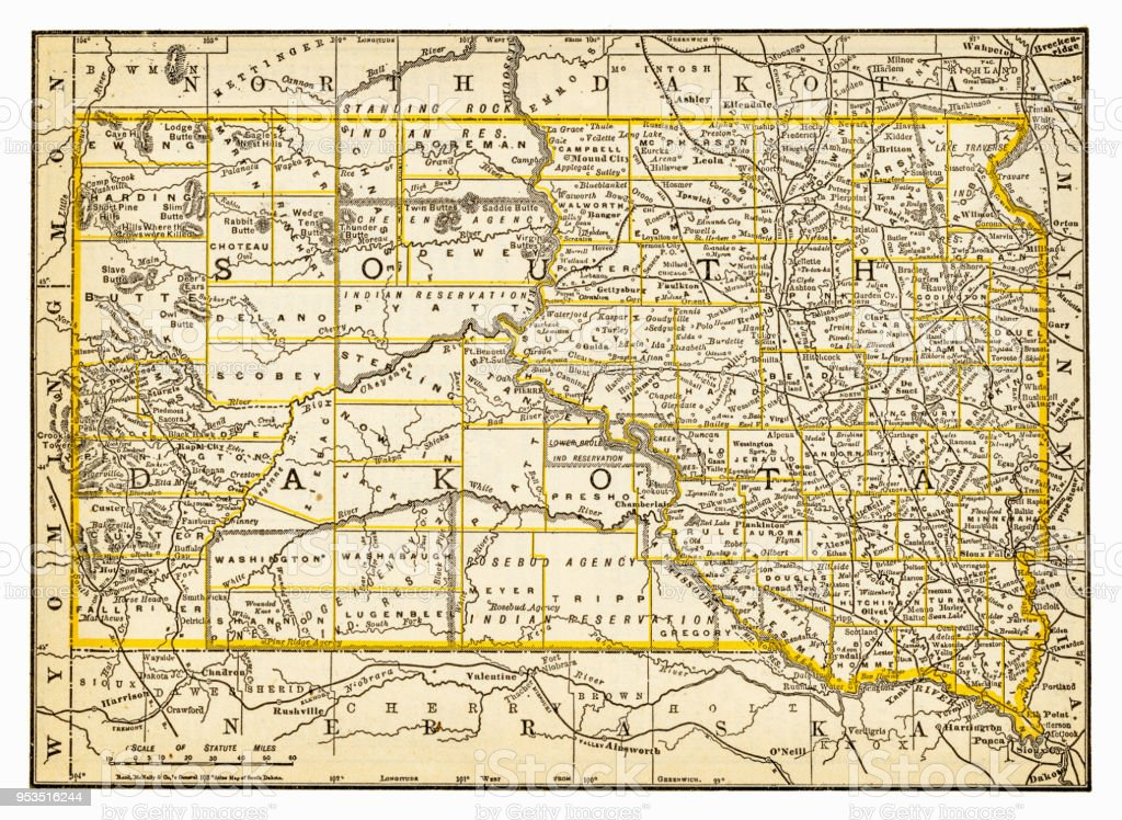 Map Of South Dakota 1893 Stock Vector Art & More Images of Antique ...