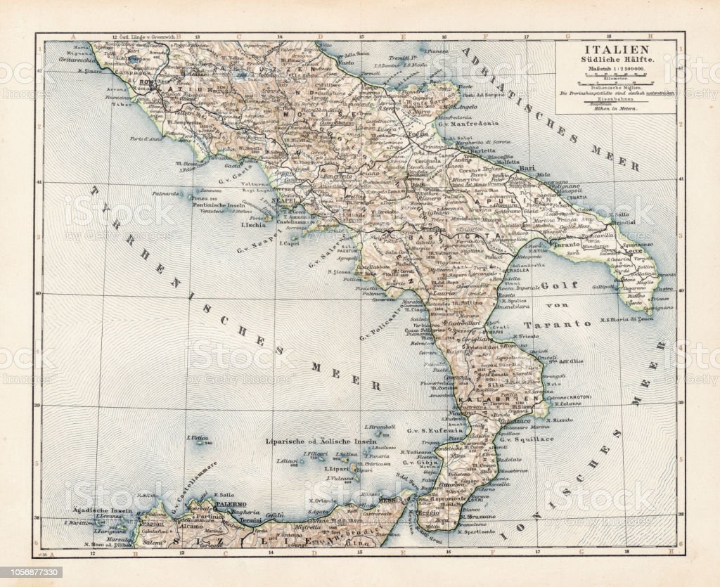 Carte Italie Corato.Carte De Litalie Du Sud 1900 Vecteurs Libres De Droits Et Plus D
