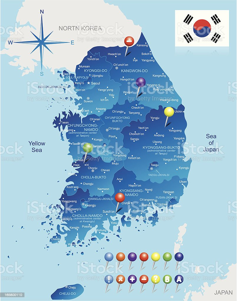 Südkorea Karte.Karte Von Südkorea Stock Vektor Art Und Mehr Bilder Von Asien Istock
