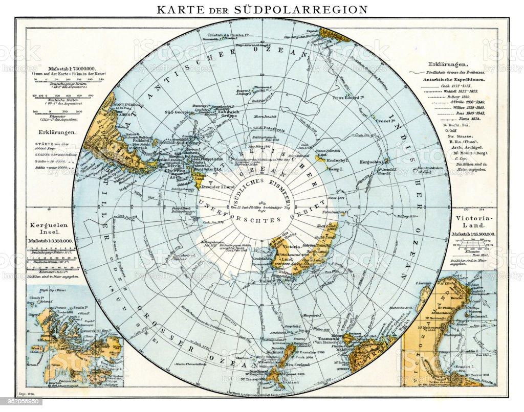 Map of South Polar region 1896 vector art illustration