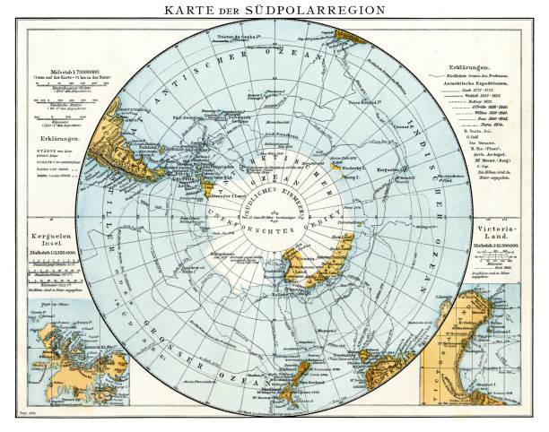 ilustraciones, imágenes clip art, dibujos animados e iconos de stock de mapa de la región polar sur 1896 - mapa de antártida