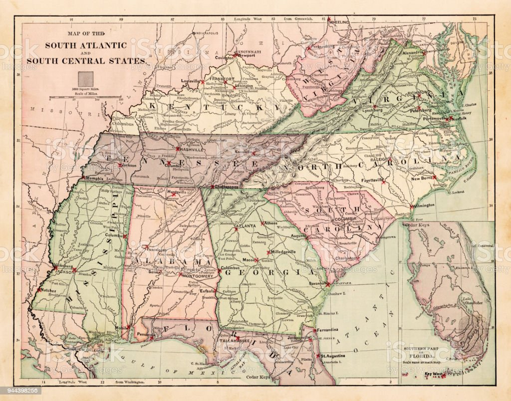 Map Of South States Usa 1881 Stock Illustration - Download ...