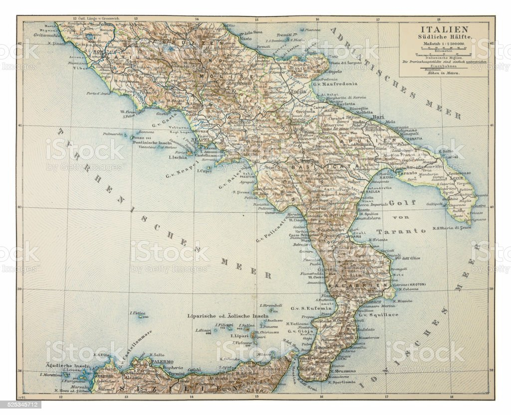 Map of southern Italy 1895 vector art illustration