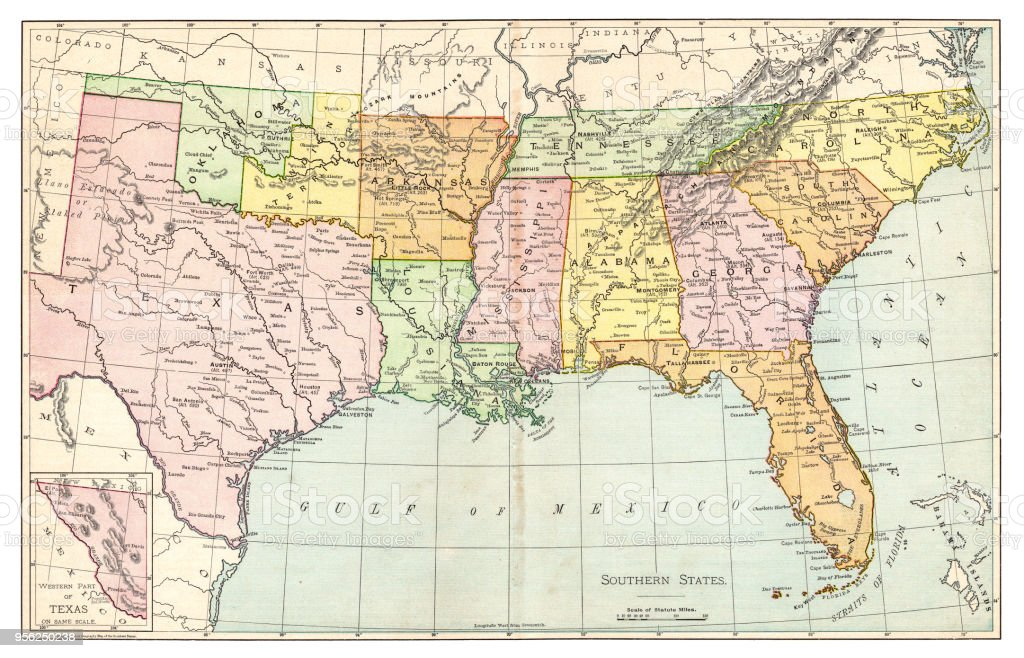 Map Of Southern States Usa 1895 Stock Illustration ...