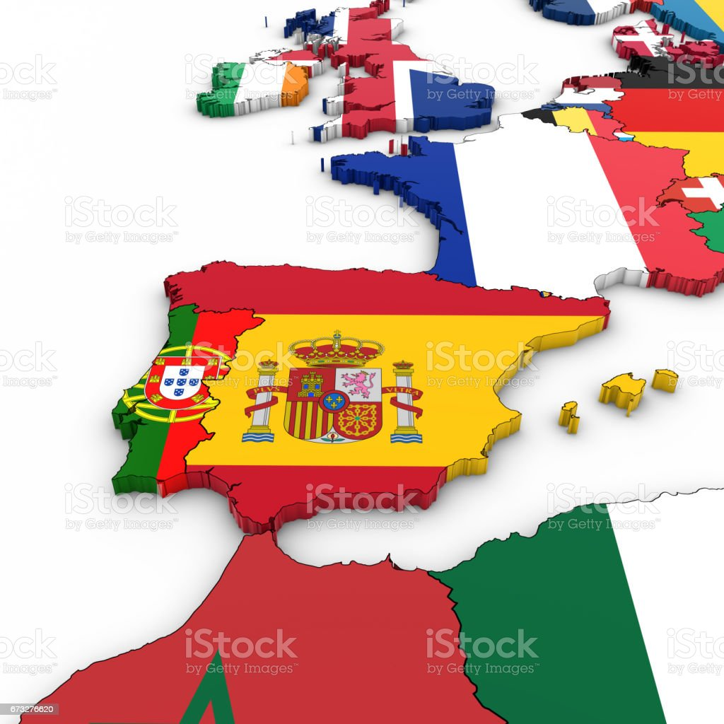 Spain Map Flag.3d Map Of Spain And Portugal With National Flags On White Background