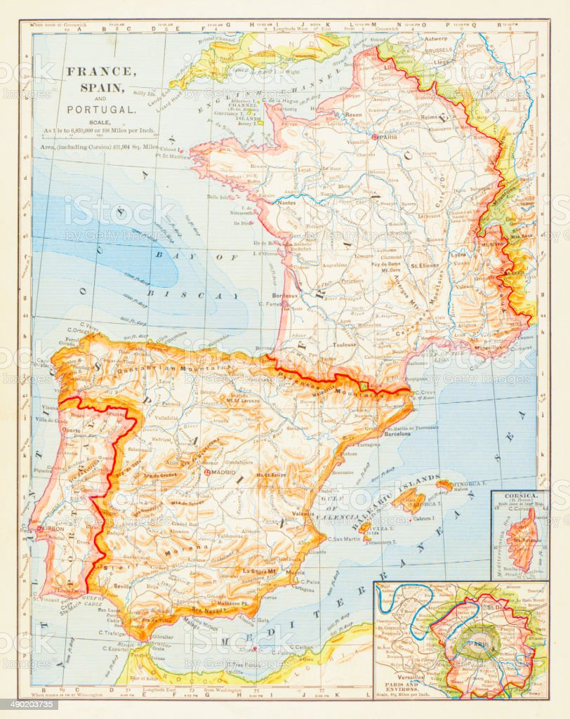 Map Of Portugal Spain France.1883 Map Of Spain France And Portugal Stock Illustration Download