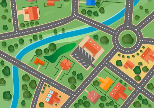 карта пригород village - иллюстрации на тему архитектура stock illustrations
