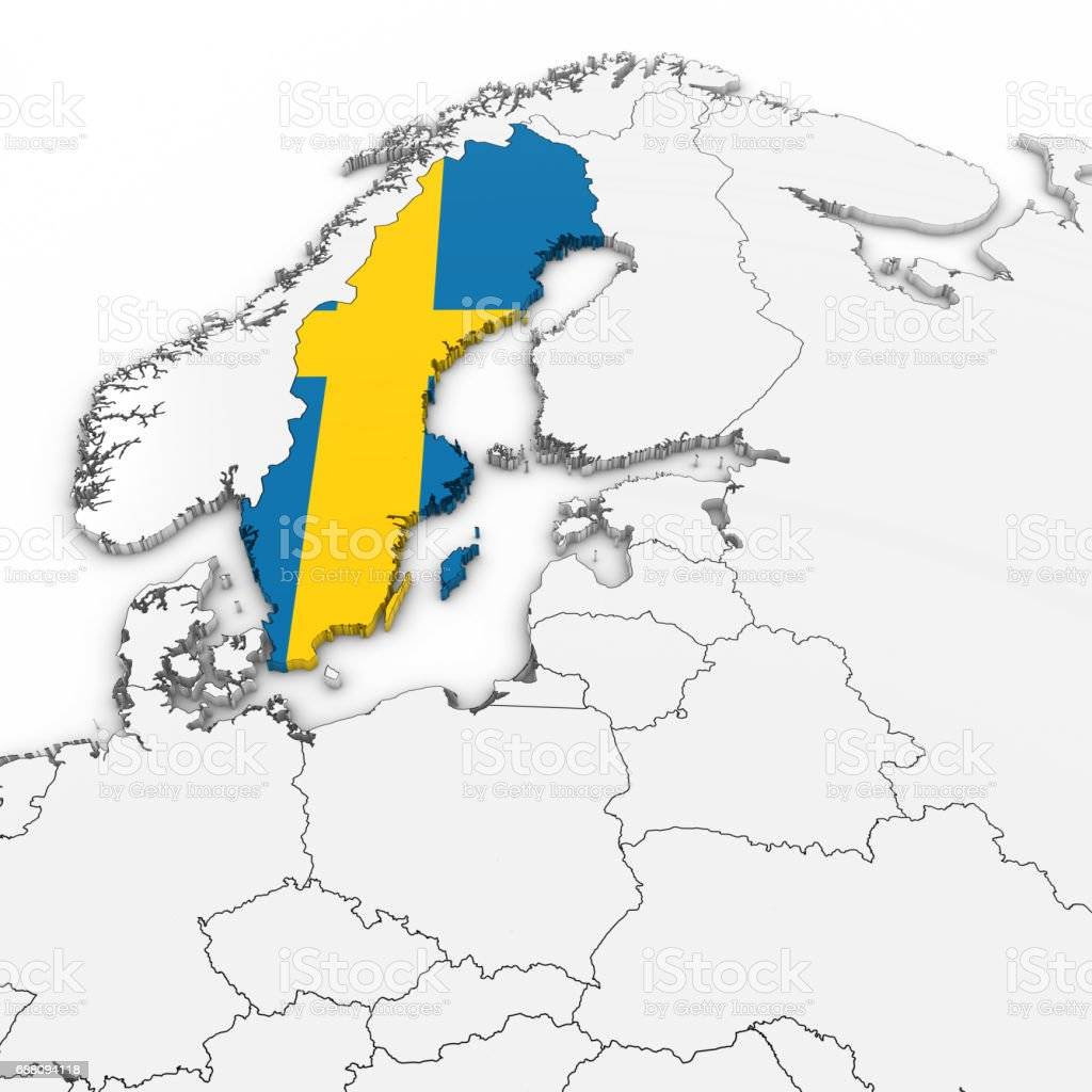 D Map Of Sweden With Swedish Flag On White Background D - Sweden map flag