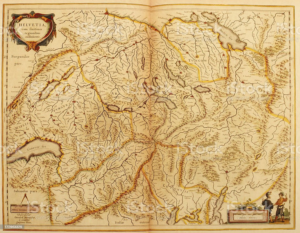 Map of Switzerland 1635 royalty-free stock vector art