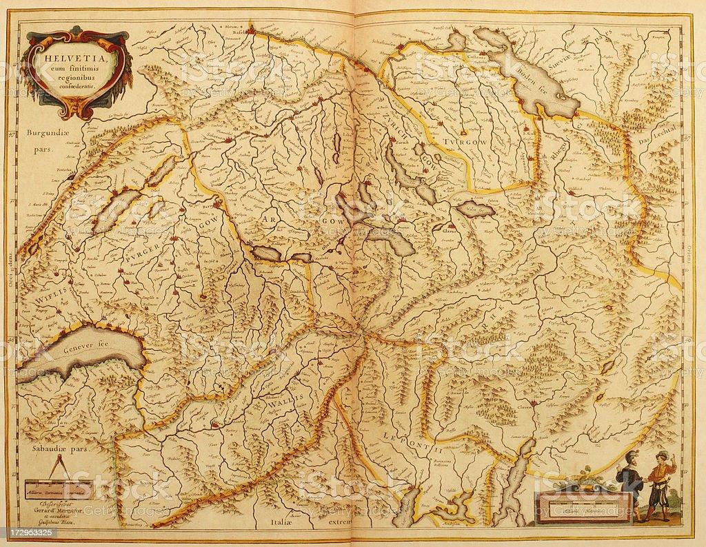 Map of Switzerland 1635 vector art illustration