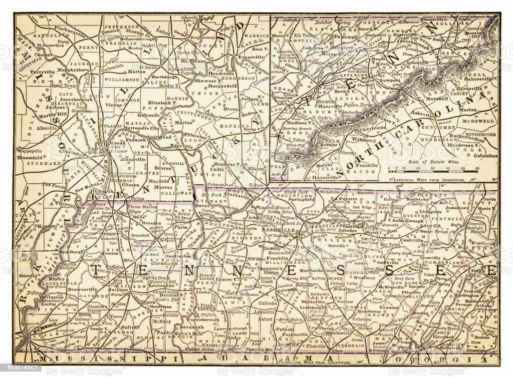 Ilustración de Mapa De Tennessee 1893 y más banco de imágenes de ...