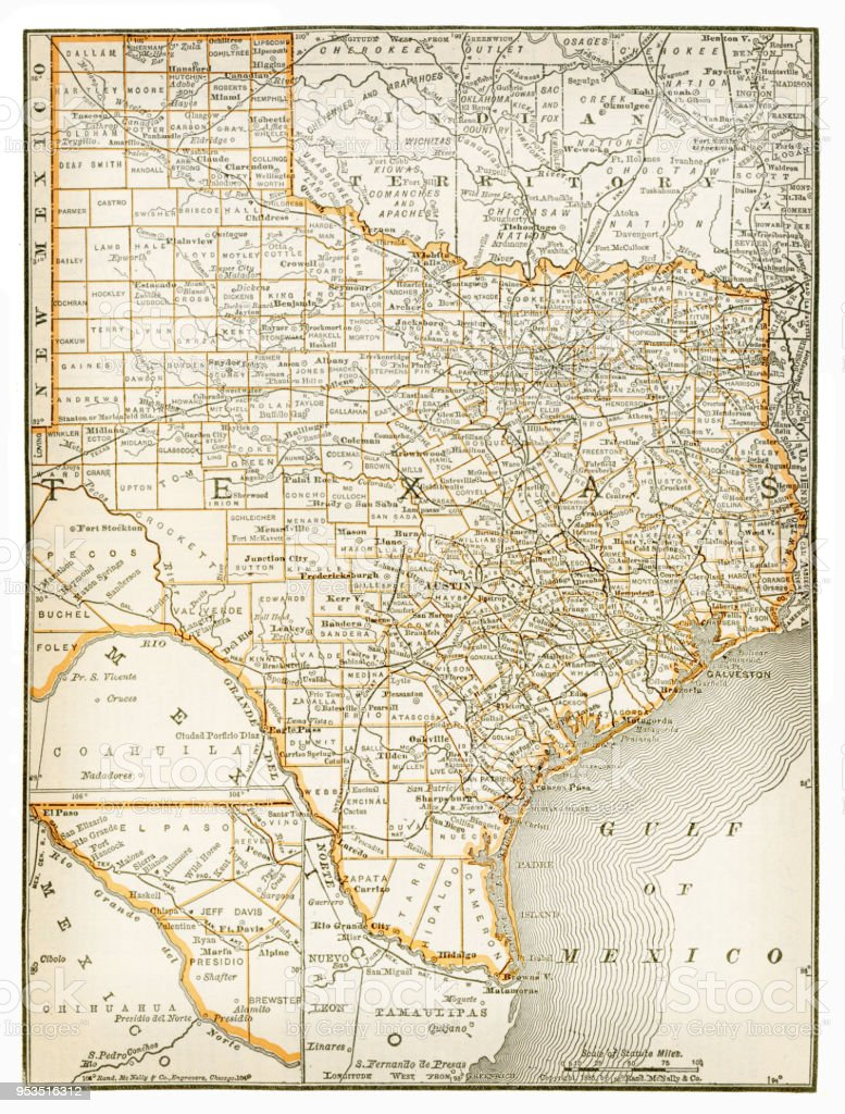 Map Of Texas 1893 Stock Vector Art More Images Of Antique