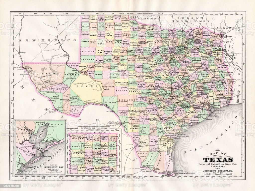 Map Of Texas And Louisiana Border.Map Of Texas 1894 Stock Illustration Download Image Now Istock