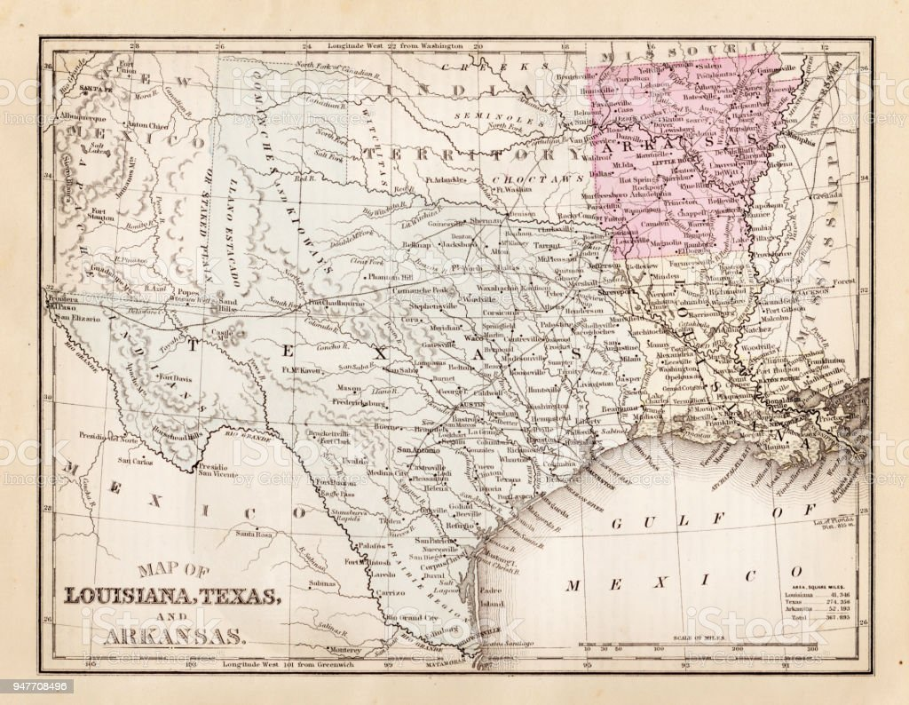 Map Of Texas And Louisiana Border.Map Of Texas Louisiana And Arkansas 1881 Stock Illustration