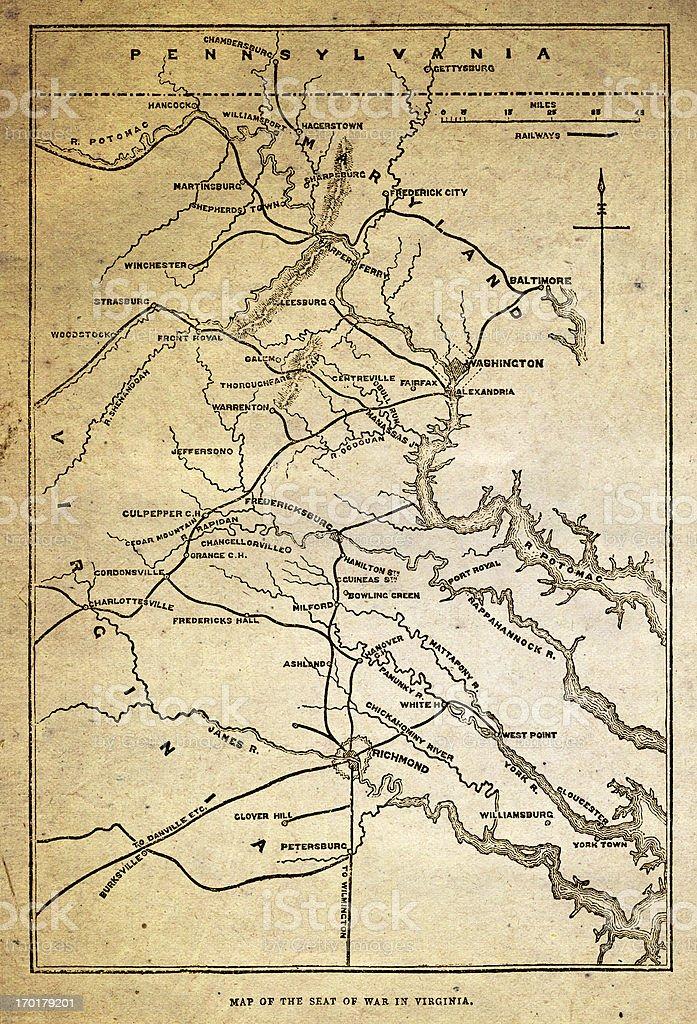 Map of the American civil war in Virginia vector art illustration