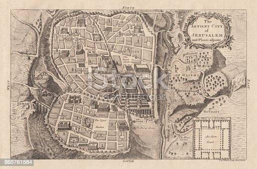 Map of the ancient Jerusalem. Copperplate engraving, published in 1774.
