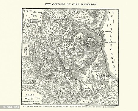 Map Of The Battle Of Fort Donelson American Civil War Stock Vector - Fort donelson on us map