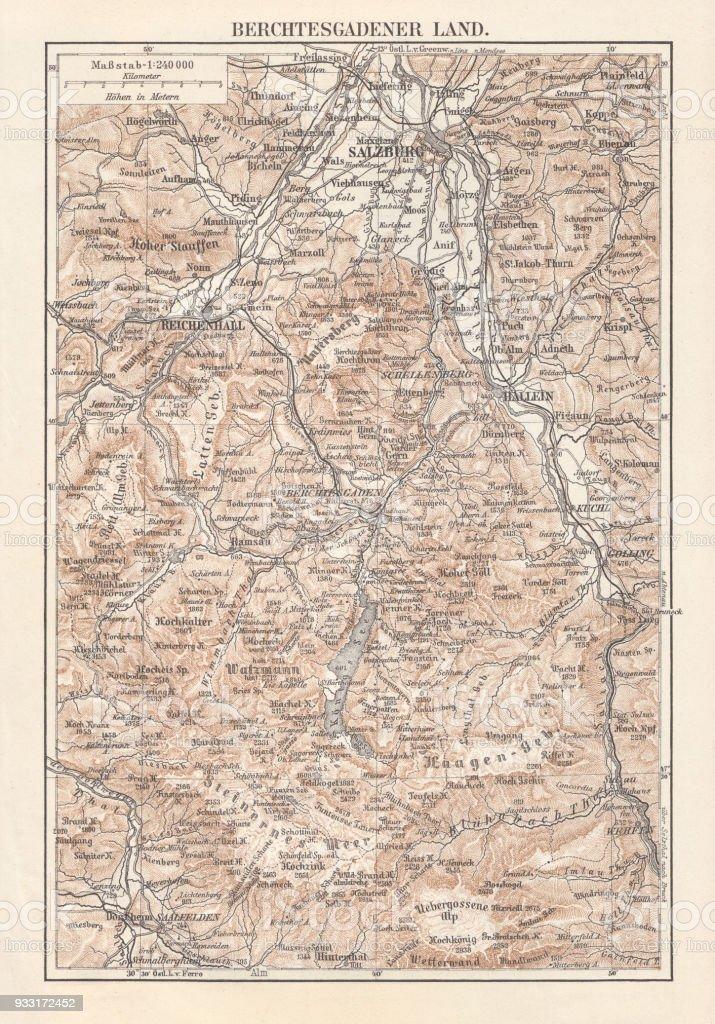 Berchtesgadener Land Karte.Karte Von Das Berchtesgadener Land Bayern Deutschland Lithographie