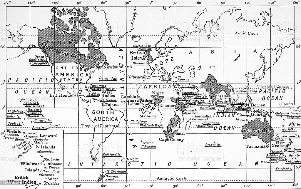 Map of the British Empire 1880 vector art illustration