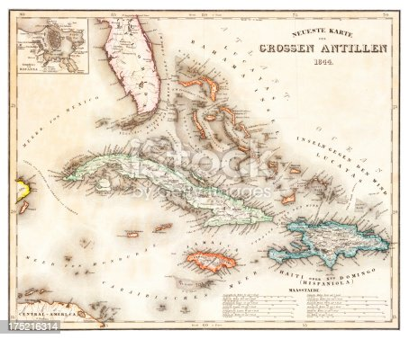 old map of the Caribbean and the West Indies from 1844