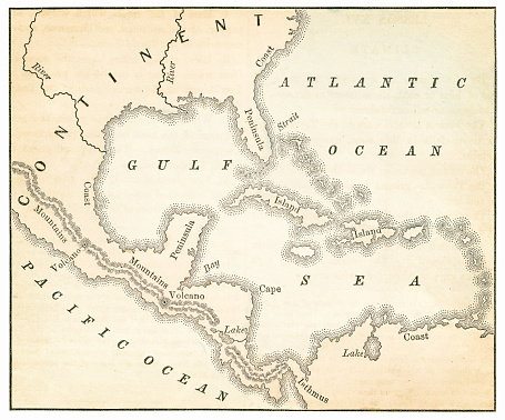 Map of the Caribbean and West Indies - Warren geography 1867