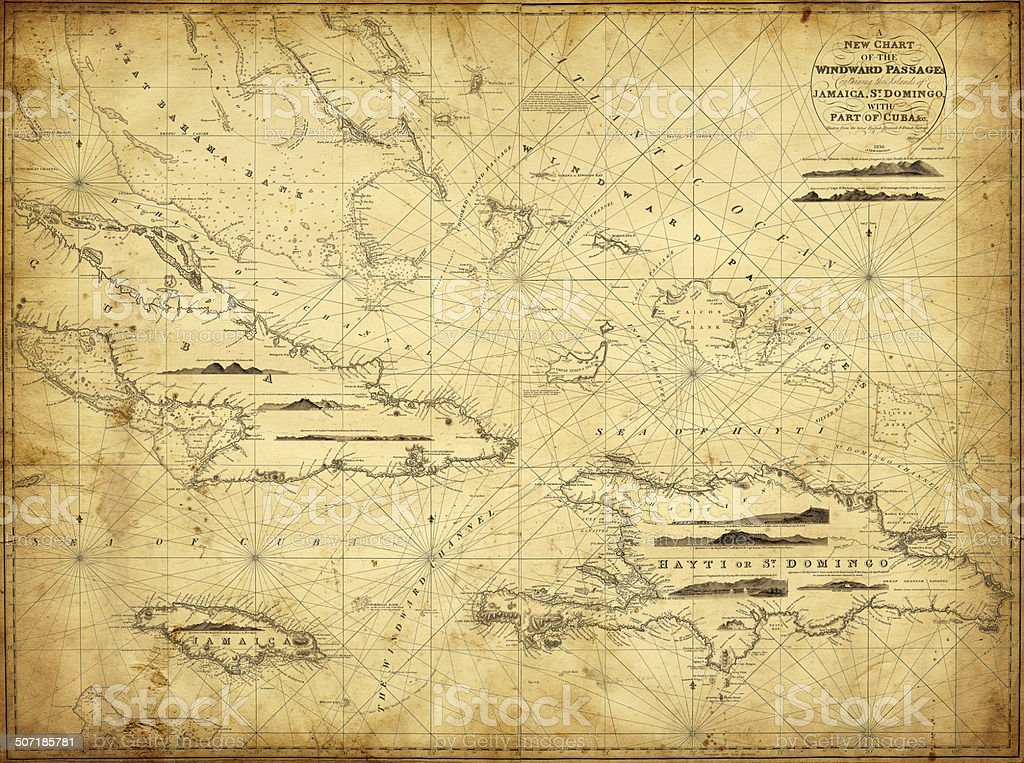 map of the Caribbean Greater Antilles 1836 vector art illustration