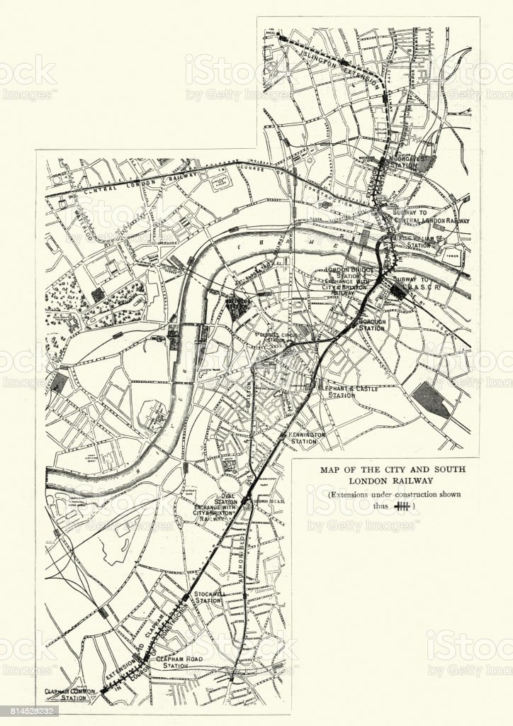 map of the city and south london railway 1899 royalty free stock vector art