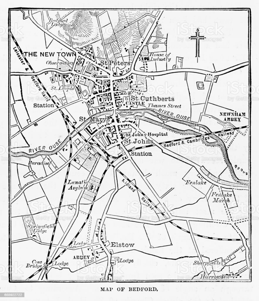 Map of the City of Bedford, England Victorian Engraving, 1840 royalty-free map of the city of bedford england victorian engraving 1840 stock illustration - download image now