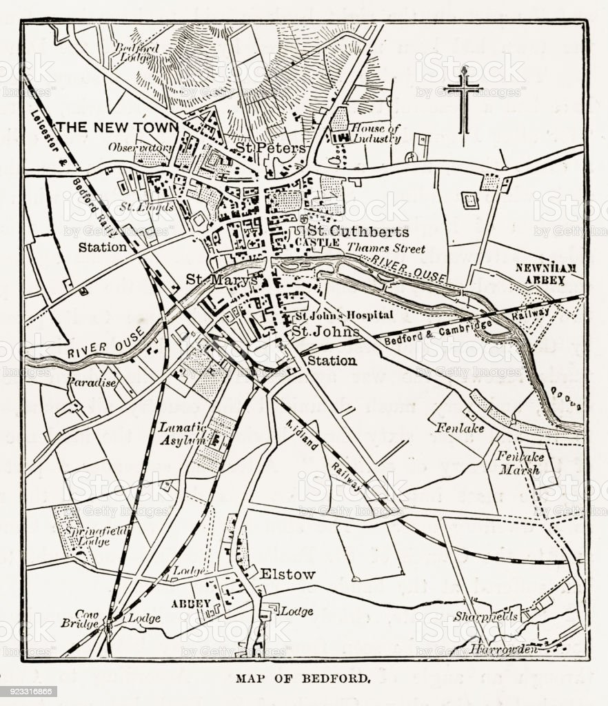Map of the City of Bedford, England Victorian Engraving, 1840 vector art illustration
