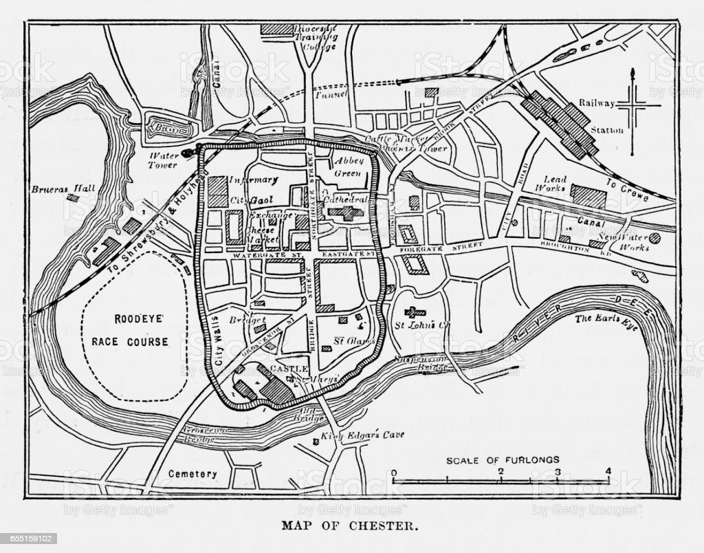 map of the city of chester england victorian engraving 1840 stock Diagram of a Bird map of the city of chester england victorian engraving 1840 illustration