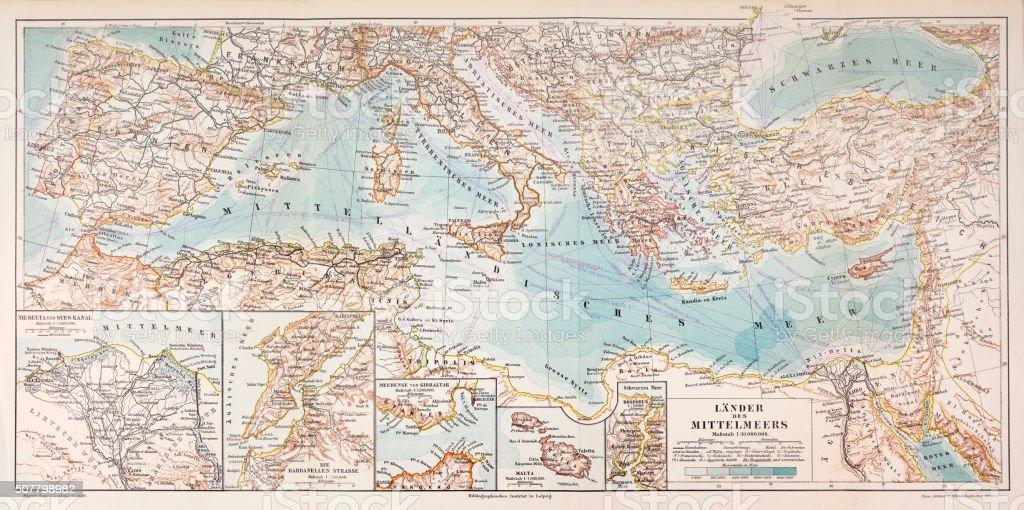 Mediterraneo Cartina.Mappa Dei Paesi Del Mediterraneo 1897 Immagini Vettoriali Stock E Altre Immagini Di Antico Vecchio Stile Istock