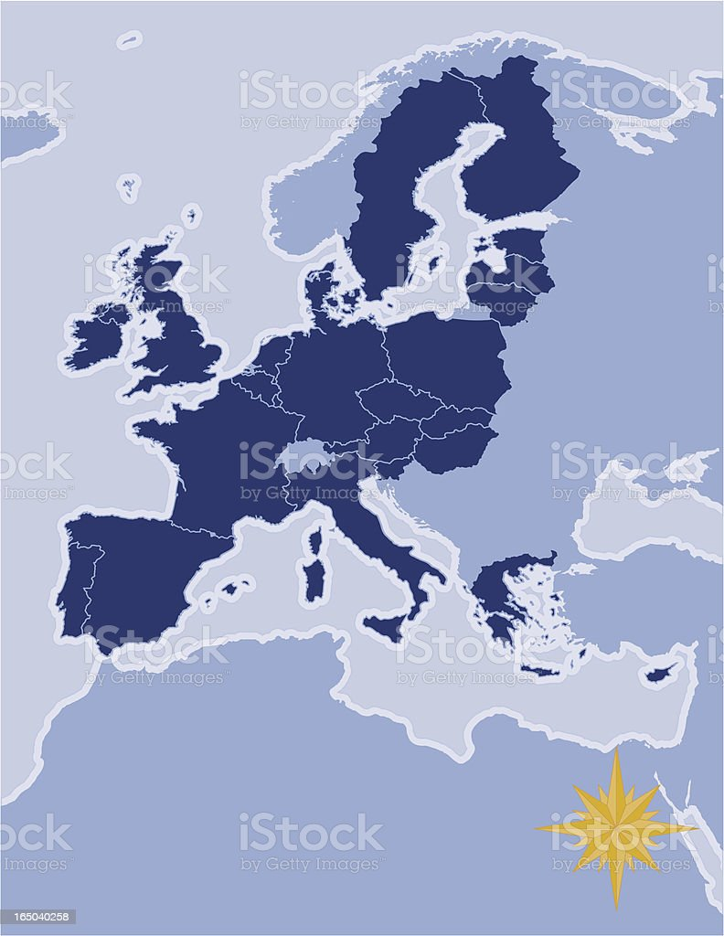 Map of the European Union royalty-free stock vector art