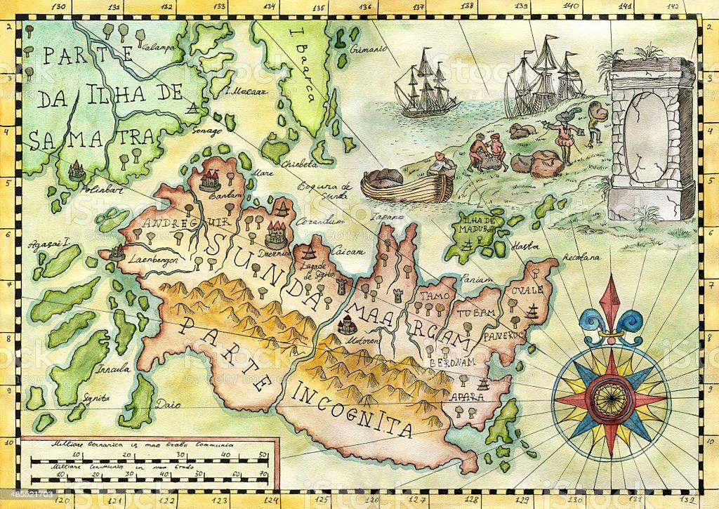Fantasy Karte.Karte Der Fantasy World 1 Stock Vektor Art Und Mehr Bilder Von