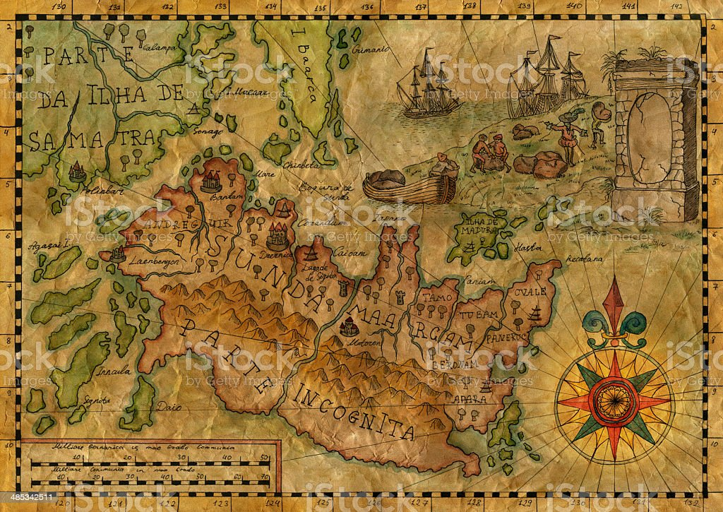 Map of the fantasy world 3 vector art illustration