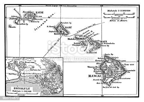 Illustration of a Map of the Hawaiian Archipelago
