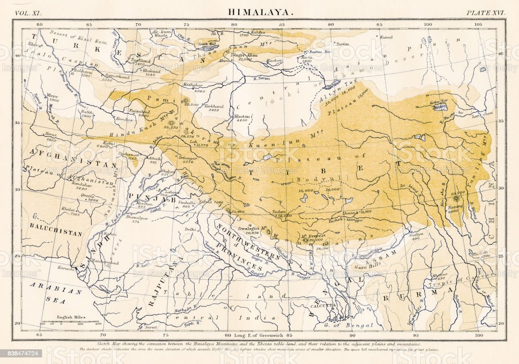 Map of the HImalayas 1883 vector art illustration