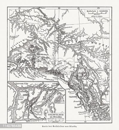 Topographic map of the gold fields at the Klondike River in Canada during the time of the Klondike Gold Rush 1896 - 1899. Wood engraving, published in 1898.