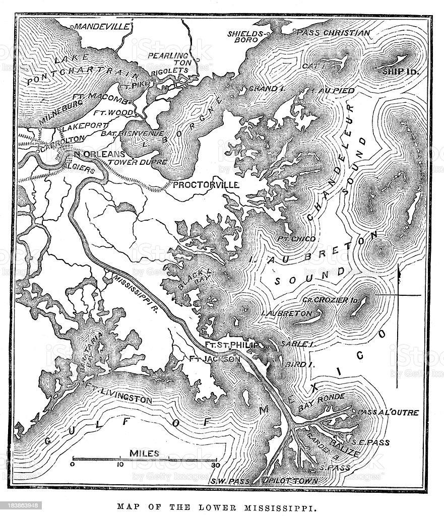 Map of the Lower Mississippi vector art illustration