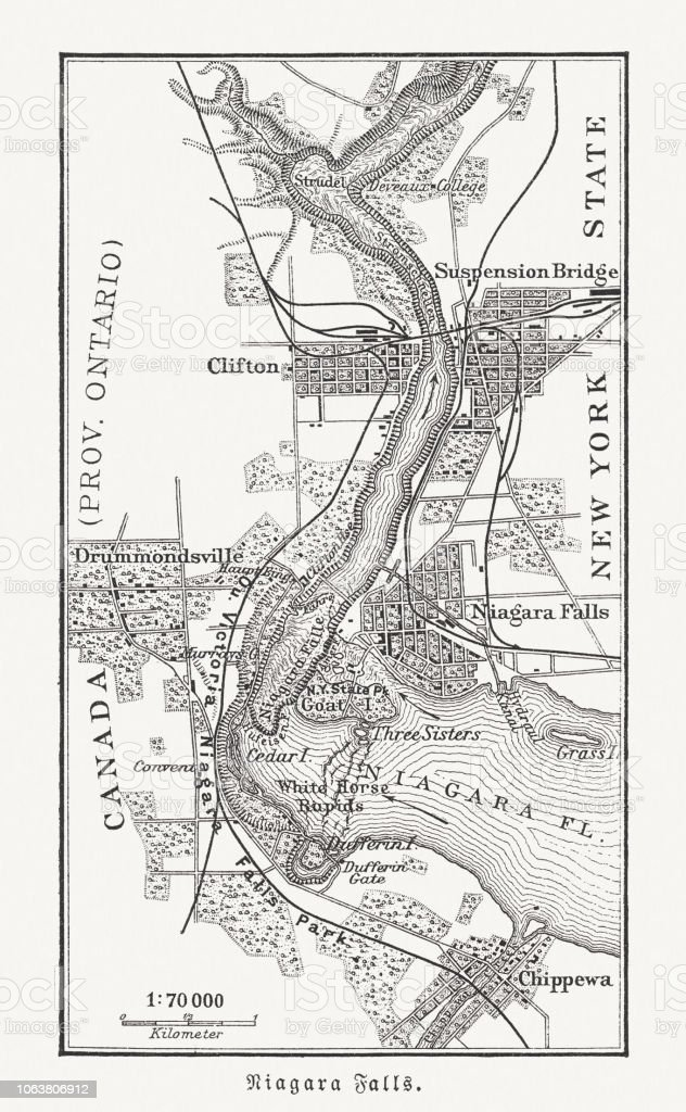 Map Of The Niagara Falls Canada Usa Woodcut Published 1897 Stock ...