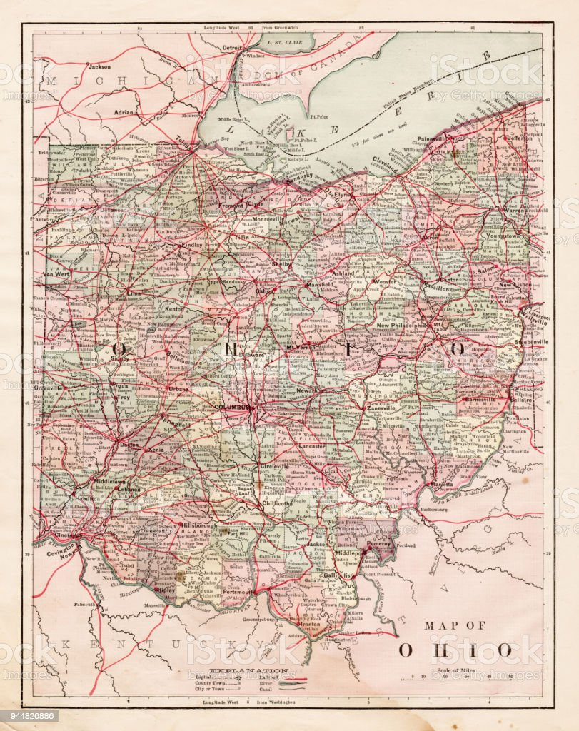 Map of the Ohio state USA 1881 vector art illustration