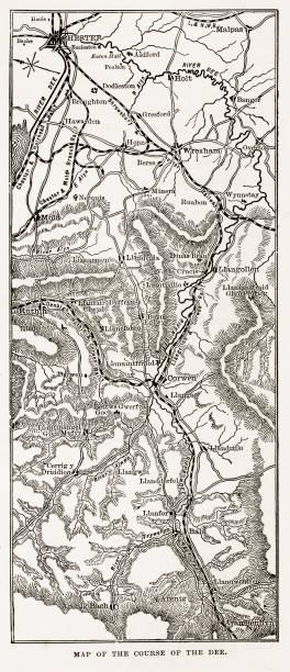 stockillustraties, clipart, cartoons en iconen met kaart van de rivier de dee, wales victoriaanse gravure, circa 1840 - caernarfon and merionethshire