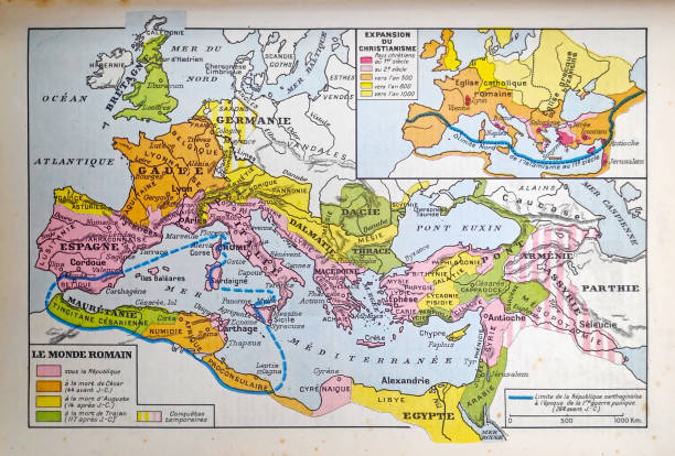 Map of the Roman Empire dating from 1889 vector art illustration