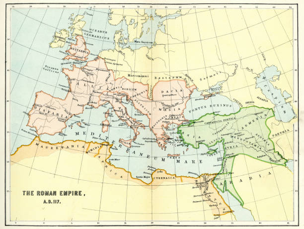 Map of the Roman Empire in AD 117 Vintage engraving of a Map of the Roman Empire in AD 117 ancient rome stock illustrations