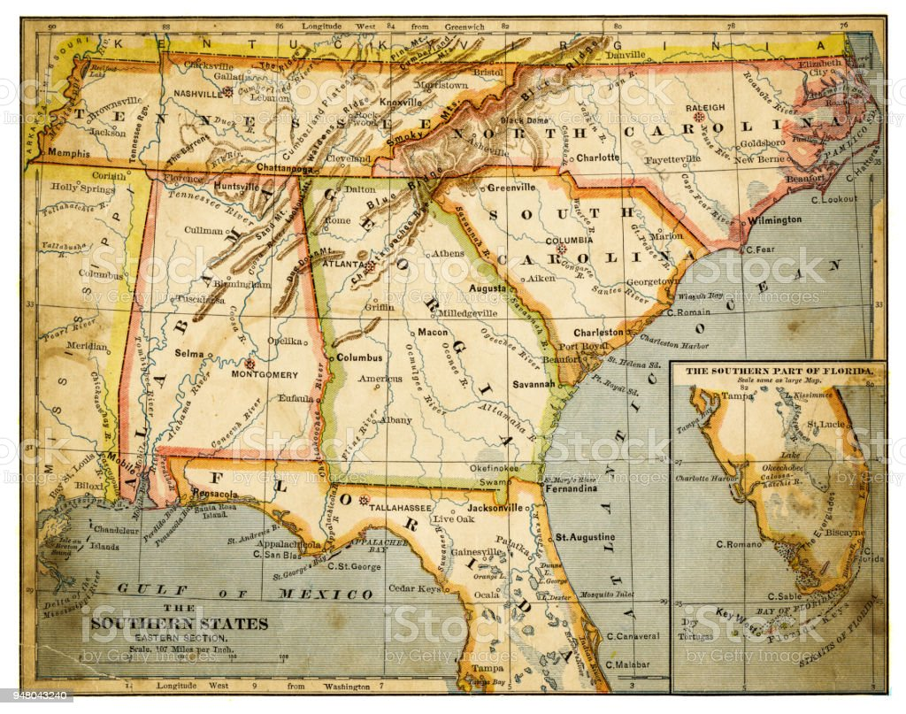 Map Of The South Eastern States 1883 Stock Illustration ...