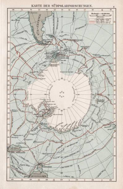 ilustraciones, imágenes clip art, dibujos animados e iconos de stock de mapa del polo sur 1900 - mapa de antártida